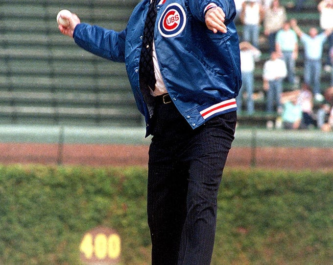 President Ronald Reagan Throws the Ceremonial First Pitch at Wrigley Field in September, 1988 for Chicago Cubs - 5X7 or 8X10 Photo (ZY-417)