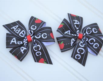 Chalkboard Bow - Back to School Bows - Back to School Bow Apple - Pigtail Bows - School Hair Bows - School Hairbows - School Hair Clips