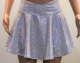 Silvery White Holographic Skirt
