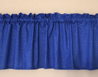 Polka Dot Curtain Valance (Blue base)