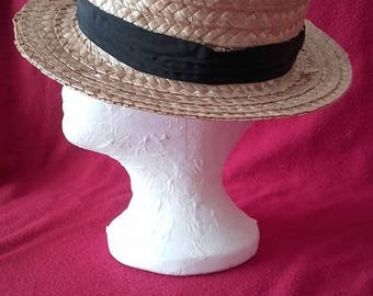Vintage Straw Boater Hat (for Lady or Gent)