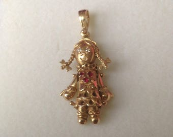 Doll pendant etsy 9ct gold rag doll pendant childs vintage gold articulated doll pendant mozeypictures Images
