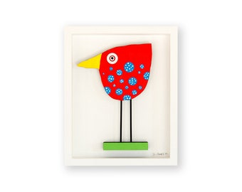 Red Bird with Blue Spots