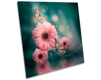 Gerbera Floral Flower Butterfly Pink CANVAS WALL ART Square Print
