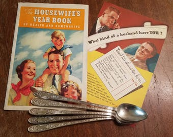 Vintage Ice Tea Spoons with 1937 cookbook