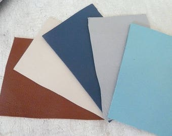 set of 5 rectangle of leather, assortment of colors