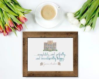Pride & Prejudice Quote | Jane Austen Quote | Watercolor Wall Decor | 8x10 Watercolor