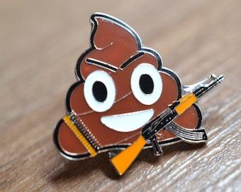 War or Anti-War Emoji Poo/Ice cream Emoji with an AK-47, Anti-War Pin/Broocj
