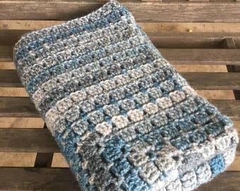 Handmade crochet soft baby blanket/afghan boy blue and gray