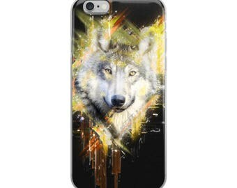 Beautiful Wolf Art Yellow Black White iPhone Case 6, 7, 8, X