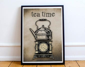 TEA WALL ART - Tea Time - Instant Download - Kitchen Wall Art - Printable Wall Art