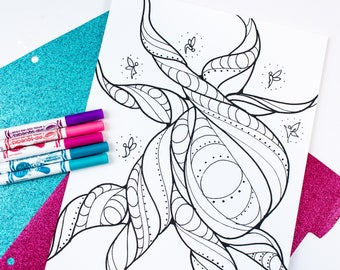 Tree and Fairies Coloring Page / Tree Coloring Page / Fairy / Ferngully Coloring Page / Kids Coloring / Adult Coloring / 1 Digital Download