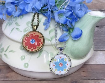 Folk Art Flowers - Glass Pendant Necklace - Choose from 2 Styles