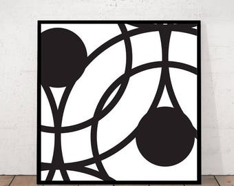 Circle Print, Minimalist Wall Art, Digital Print, Geometric Print, Black and White Print, DIY Home Decor, Scandinavian Modern, Modern