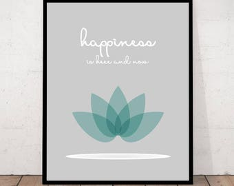 Happiness Print, Zen Decor, Meditation Decor, Yoga Wall Art, Zen Wall Art, Inspirational Quote, Zen Quote Print, Happiness, Zen Poster
