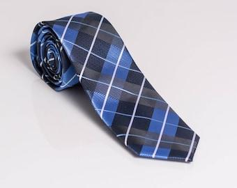 Plaid Tie, Blue tie, Wedding Gift, silk tie, Skinny Tie, Mens tie, Mens Necktie, Wedding Necktie, Plaid Pattern, Wedding Neckties, navy tie