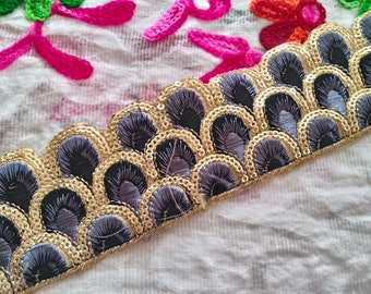 Black Indian Trims Embroidered Saree Border Fabric Trim By The Yard Wholesale Trimmings Ribbon Indian Sari Border gold indian trim ft145