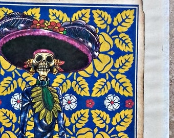 """SALE Original folk art Mexican Amate Catrina skeleton tribal handmade paper on cotton fabric and painted with natural pigments 9""""x 12.75"""""""