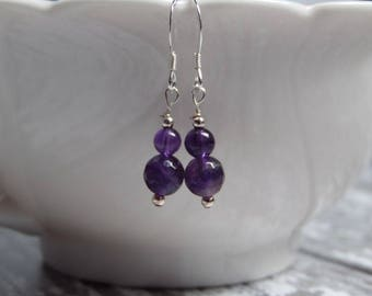 Amethyst and Sterling Silver Handmade Gemstone Earrings
