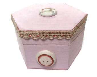 Decorated Wooden Box, Hand Painted Wooden Box, Trinket Box, Sewing Box, Pink Wooden Box, Hand Decorated Box, Button Box, Hexagonal Box