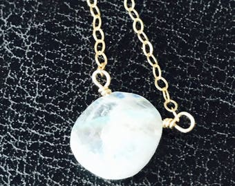 Tiny Moonstone Necklace Moonstone Necklace June Birthday Gemstone Necklace Boho Necklace Layering Necklace Gift for her June Birthstone