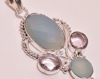 "Handmade and Unique Iolite ad Aqua Blue Chalcedony Pendant .925 Sterling Silver Pendant 2.65"""