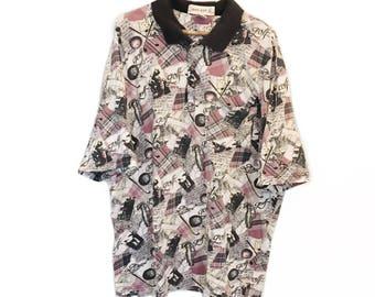 Vintage Grand Slam Munsingwear 1990s Shirt - Golf Pattern - White, Black, Purple - Size XL