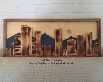 Denver Skyline with Mountains