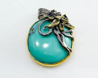 Genuine Turquoise Necklace, December Birthstone Necklace, turquoise jewelry, Black Necklace, flower necklace, statement necklace, branch