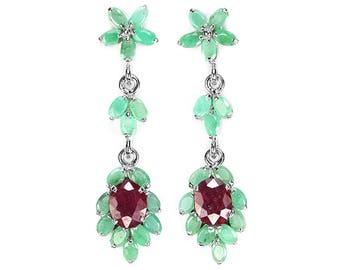 Ruby Emerald earrings for women, Long earrings, Flower Earrings, inspirational jewelry for her, green gift mom, green jewelry wife gift
