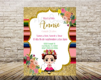 Frida Kahlo Invitations, Frida Invitations, Fridita Invitation, Invitaciones Frida Kahlo, Invitaciones Frida, Baby Shower Frida Invitations