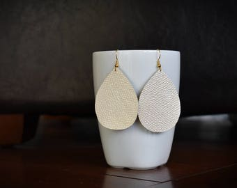 Metallic Pearl Leather Earrings