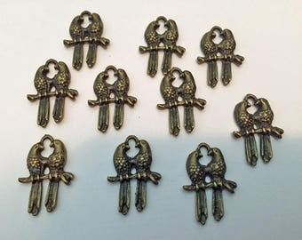 10 Bird Parrot Charms Pendents : Jewelry Making Findings - DIY - Love Birds - #175