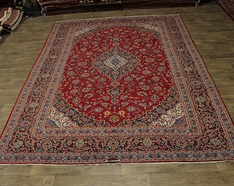Fine Traditional Handmade Signed Kashan Persian Area Rug Oriental Carpet 10X13