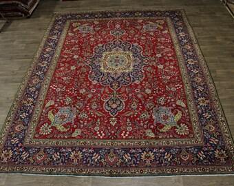 Exquisite Floral Design Handmade Tabriz Persian Rug Oriental Area Carpet 10X13