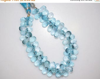 "50% OFF Sky Blue Topaz Faceted Tear Drop Beads-Sky Blue Topaz Tear Drop Briolette, 10x6 - 13x5 mm, 7"" , BL788"