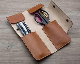 Leather Pen Case - Handmade Leather Pen Case, Leather Pencil Case, Pen Wallet, Brown Pencil Case