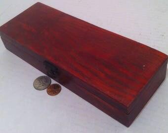 Vintage Wooden Box, Index Card Box, Storage Box, Stash Box, Shelf Display, 9 x 3 1/2 x 1 1/2.