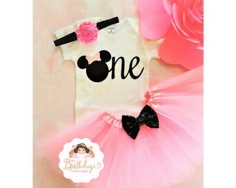 Pink and Black Minnie Mouse 1st birthday outfit,1st birthday tutu,1st birthday girl outfit,pink birthday tutu,pink tutu,girl birthday tutu