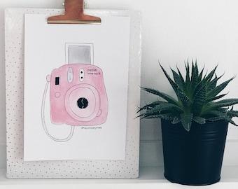 Watercolor fuji film instax mini print