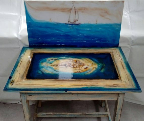 sold seacsape epoxy tableoriginal resin art coffee. Black Bedroom Furniture Sets. Home Design Ideas