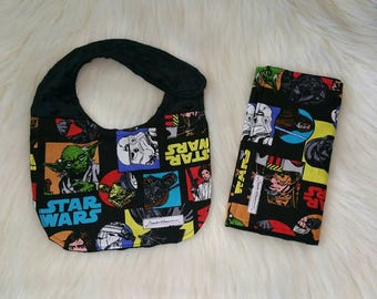 Burp cloth and baby bib, Cotton and Minky burp cloth and bib set, Star Wars gift set