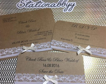 Vintage Wedding Invitation Bundle Save The Date & RSVP