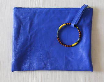 Leather clutch / blue / wax / barcelet / African / evening pouch