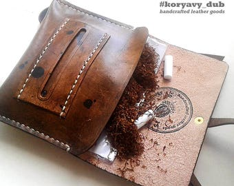 Full Grain Leather Tobacco Pouch \ Tabaktasche Leder \ Pochette à tabac \ Smoking Rolling Tobacco Case \ Weed Pouch \ Blague Tabac Cuir