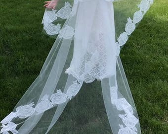 Chapel length veil/Blusher, Lace Wedding veil, Applique with off white circle rose chantilly lace soft elegant look.