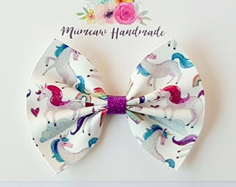 Pretty Bow, Unicorns Faux Leather Hair Bow, Nylon headband, Hair clip,  You Choose Headband or Clip