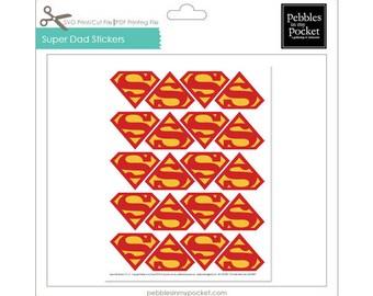 Super Dad Stickers Digital Download Print/Cut SVG & Pdf