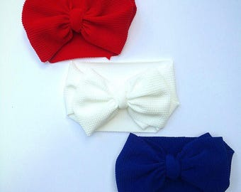 Red or Blue Bow Headwrap