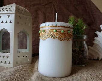Golden pearl Henna candle/ handmade gift/ personalised